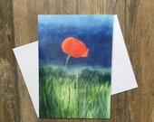 Lone poppy - large greeting card by UK artist Janet Bird
