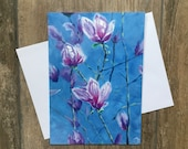 Large magnolia blossom greeting card by UK artist Janet Bird