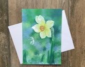 Large daffodil greeting card by UK artist Janet Bird