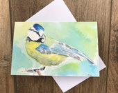 Watercolour blue tit greeting card by UK artist Janet Bird