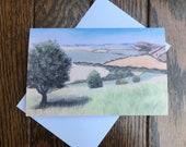 Hazy summer days greeting card by UK artist Janet Bird