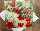 Garden Path Poppies - gorgeous greeting card designed by British artist
