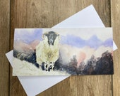 Winterspell - gorgeous sheep greeting card designed by British artist