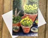 Terracotta Pots - gorgeous garden greeting card designed by British artist