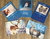 Pack of five large Christmas cards designed by British artist
