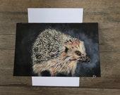 Cute hedgehog card by British artist