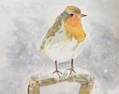 Giclee print of 'Christmas Robin'