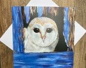 Peekaboo - gorgeous owl greeting card designed by British artist