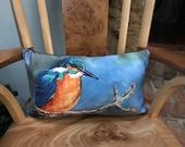 Luxurious kingfisher cushion by British artist