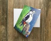 Woodpecker - small greeting card by UK artist Janet Bird