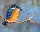 Top quality giclee print of 'The Fisher King' a kingfisher painting by artist Janet Bird