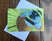 Bee greeting card by UK artist Janet Bird