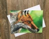 Stunning large fox greeting card by UK artist Janet Bird