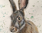 Top quality giclee print of 'Horatio' a hare painting by artist Janet Bird