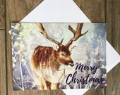 Large stag Christmas card by British artist