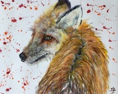 Top quality giclee print of 'Backward Glance' a fox painting by artist Janet Bird