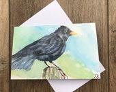Watercolour blackbird greeting card by UK artist Janet Bird