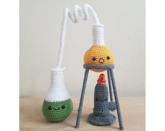 Handmade Crochet Chemistry Science, Distiller Set with Bunsen Burner Plush