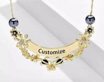 Hawaiian Jewelry Necklace Personalized Traditional Plumeria Rhinestones Maile Lei Pearls Engraved Black Enamel Gold Rose Silver