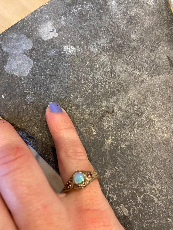 Victorian Style Ruby and Opal Ring