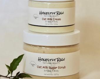 Oat Milk Sensitive Skin Duo | Eczema | Psoriasis | Dermatitis | Irritated Skin | Colloidal Oatmeal | Face Body Treatment | Sugar Scrub+Cream
