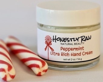 Ultra Rich Hand Cream Peppermint 2oz | Deeply Moisturizing | Non Greasy | Quickly Absorbing | Anti-Aging | Raw African Shea & Cocoa Butter