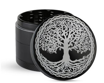 5 Part Aluminum with Pollen Screen Custom Herb Grinder with Engraved Hamsa Hand design Magnetic Top  Custom Orders available