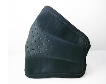 Cork leather face mask   Washable & reusable - Dark blue