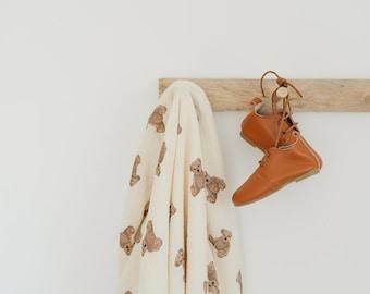 Teddy Bear Breathable and Soft Gauze Muslin Blanket | New Baby Shower Gift | Stroller Bedding | Nursery Decor | Back to School |