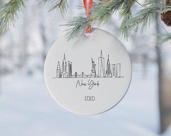 Decorations NYC Skyline Gramercy Park engagement,NYC engaged Ornament Custom Christmas Engagement Decorations Engaged Christmas