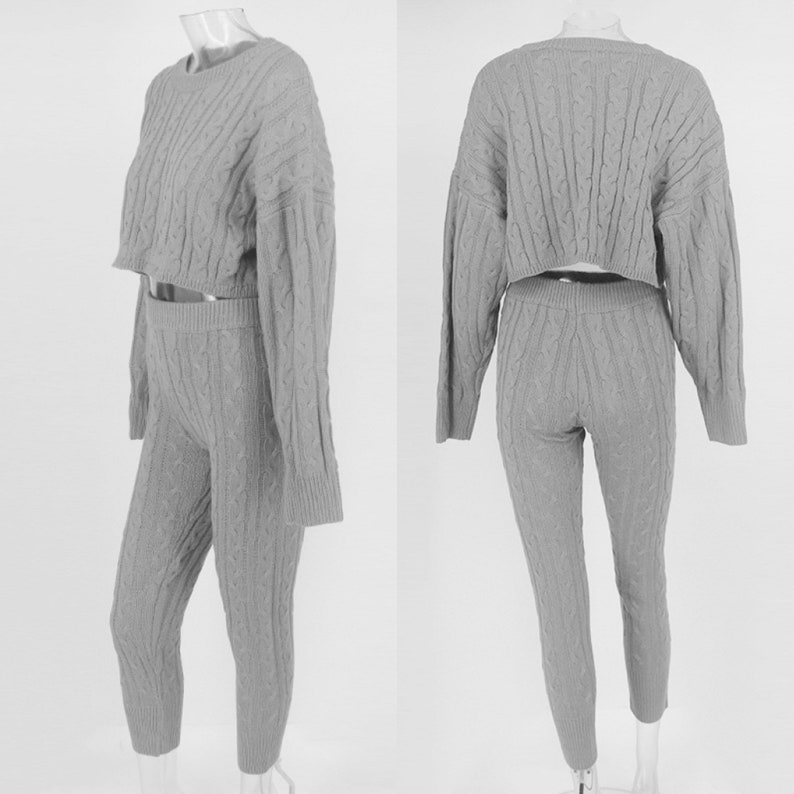Cute Two Piece co-ord set Cosy knitted loungewear crop Top jumper And legging pant set