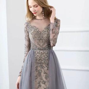 Volle Diamant Grau Braut Braut Jungferjungfer Abendkleid Party Etsy