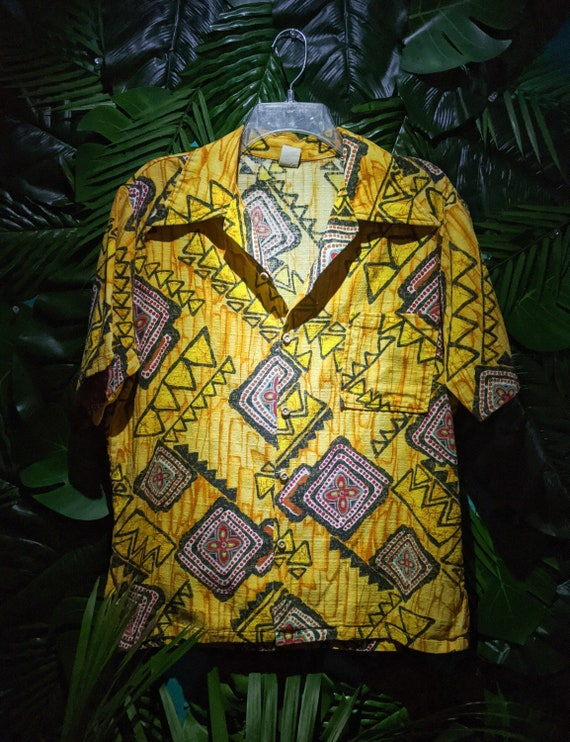 Hawaiian shirt, 60's Bark cloth shirt, Hawaiian Ho