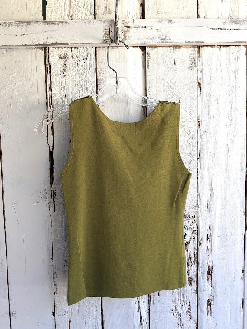 Size Small Lime Green Tank Top Vintage 90/'s Joseph A Crotchet top blouse 90/'s Qu/'est-ce Que C/'est Silk? Boxy look Pea green pullover