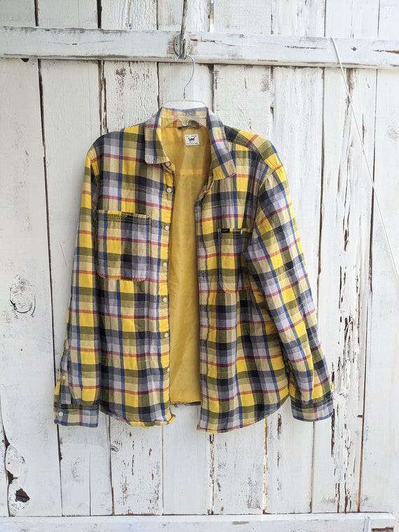 Lee Work Shirt, Vintage Lee Lined Yellow Plaid Fla