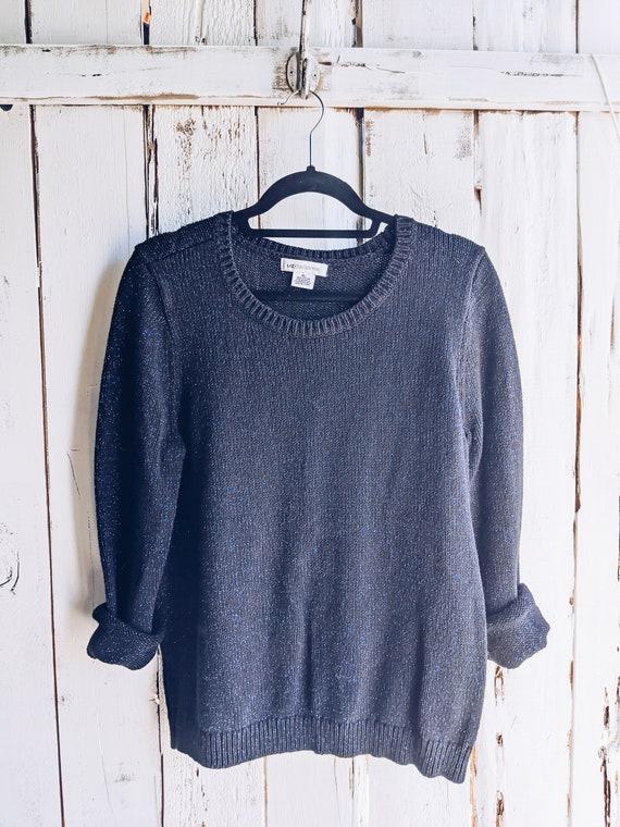 50/% SUMMER SALE Vintage 90s Liz Claiborne Dark Gray Rhinestone Shoulder Crewneck Solid Long Sleeve Sweater Top Sweatshirt XL Plus Size