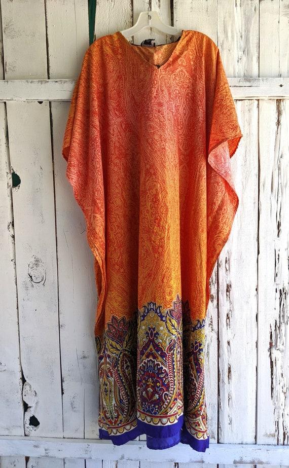 Kimono Caftan, Vintage 80s Kaftan Dress, Ethnic Ma