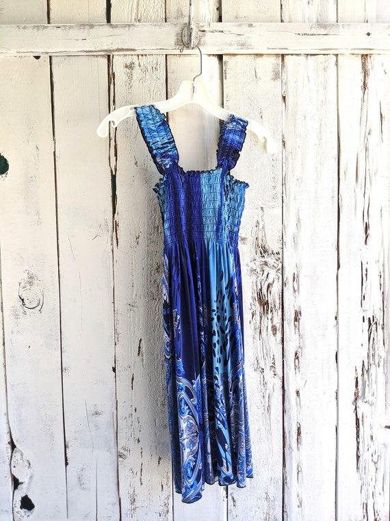 Boho summer dress, Shirred bodice summer dress, Fl
