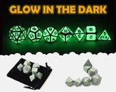 D D GLOW in the DARK Geen and Silver Metal Dice 7 Piece Set Bag d20 d12 d10 d d8 d6 d4 DnD RPG Role Playing Games Dungeons Dragons Gift