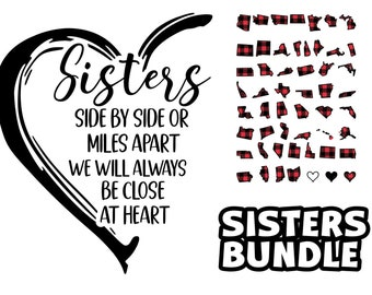 Sisters Side By Side SVG and All 50 States Buffalo Plaid svg studio 3 cutting files only states svg United States SVG Sisters Bundle
