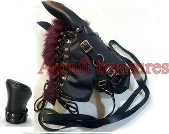 Black Leather Horse Pony Wild Mask, Pony Play Fetish