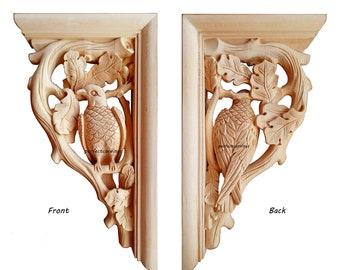 """Pair of Vintage Style Bird In Tree Carved 14-3/4"""" Bracket Corbel"""