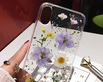 Pressed Dried Real Flower Phone Case Handmade iPhone 12 Mini 11 Pro Max SE 2 2020 Fashion For iPhone X Xs XR 7 8 Plus Floral Cover