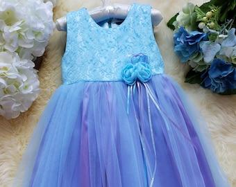 Occasional Flower Girl Dress, Multicolored Dress, Party Dress, Unicorn Dress, Blue and Purple, Simple, Elegant Dress, Ophelia