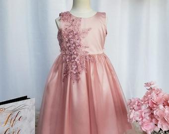 Rose Gold Occasional Flower Girl Dress, Party Dress, Open Back Dress, Naomi