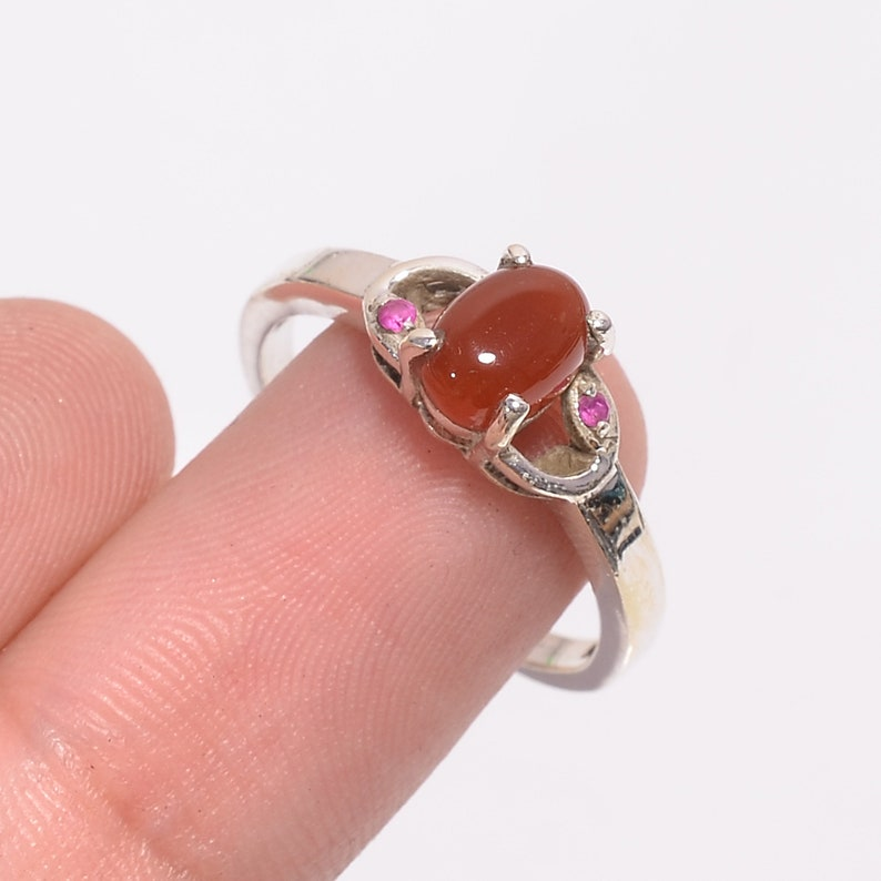 Natural Carnelian Ethnic Style Handmade Jewelry 925 Sterling Silver Ring 6.75 USFree Shipping Superb AAA Quality,Unique Gift,AAA Quality