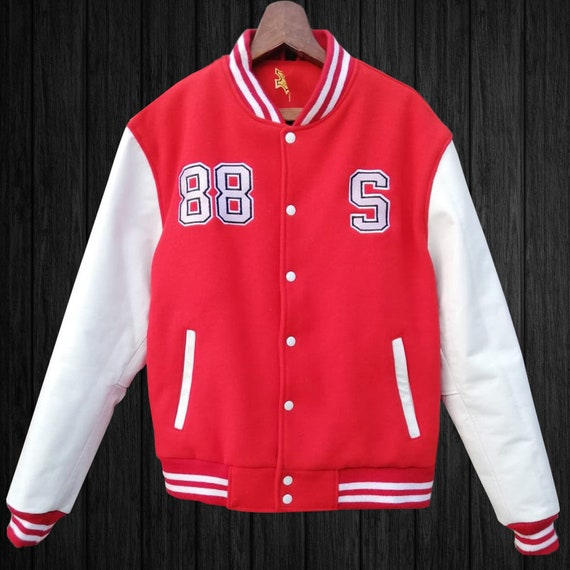 Handmade Premium Letterman Baseball School College Varsity Bomber Jacket Navy Blue Wool /& Real White Cowhide Leather Sleeves