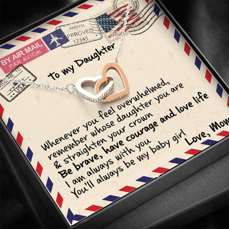 Daughters Birthday Be Brave Interlocking Heart Necklace Gift For Daughter from Mom To My Daughter Have Courage /& Love Life