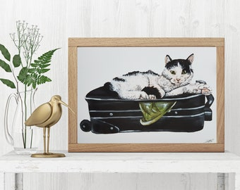 Black and White Cat, Painting / Print / Sophie / Wall art