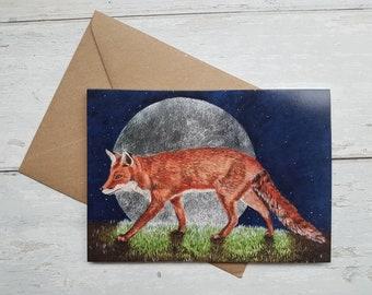 Fox/ Moon/ Greeting card / Birthday Card